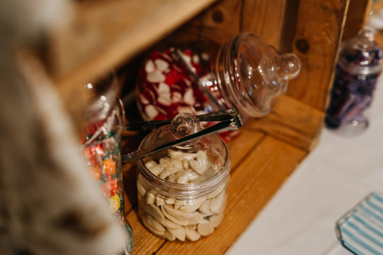 Vintage Retro Old School Sweets Glass Jars Wooden Crates   Rustic Relaxed Cornflower Blue Barn Wedding http://www.peterhugophotography.com/