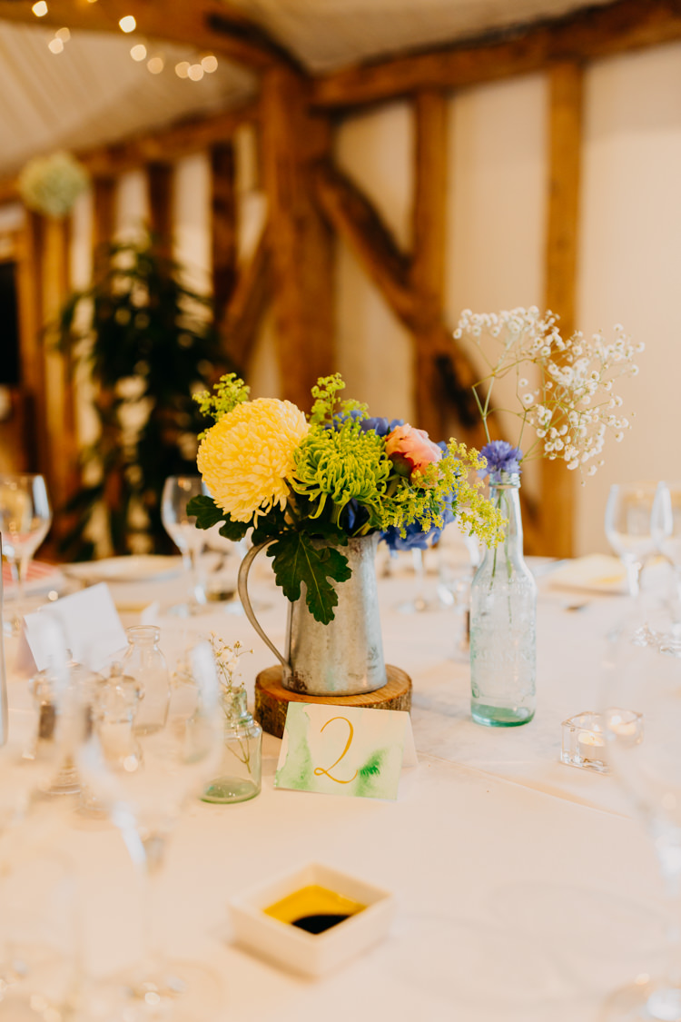 DIY Watercolor Table Numbers Yellow Blue Pink Centrepieces   Rustic Relaxed Cornflower Blue Barn Wedding http://www.peterhugophotography.com/