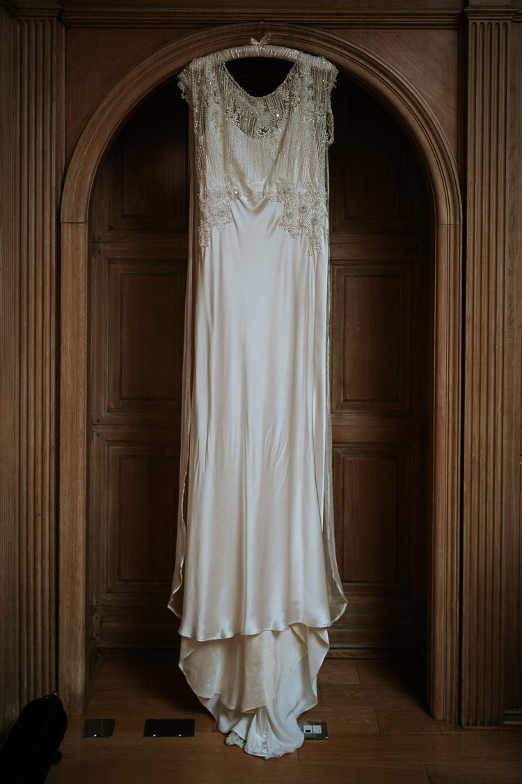 Bespoke Vintage Satin Silk Column Dress Beaded 1920s | Glitter Dinosaurs City Wedding https://struvephotography.co.uk/