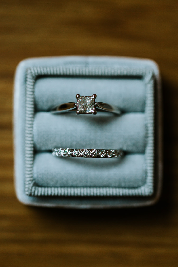 Bride Groom Rings Blue Ring Box Diamond Eternity Band | Dinosaurs City Wedding https://struvephotography.co.uk/