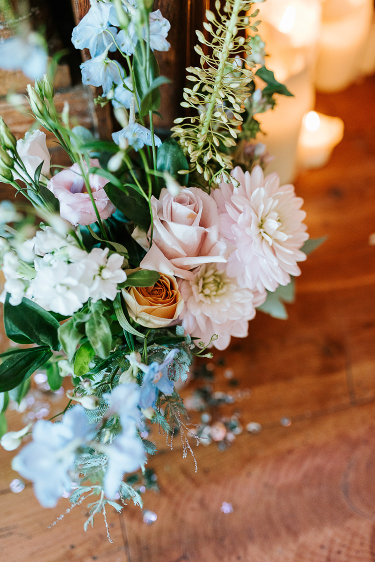 Pastel Flower Arrangements Decor Candles Romantic Decor Pink Blue | Glitter Dinosaurs City Wedding https://struvephotography.co.uk/