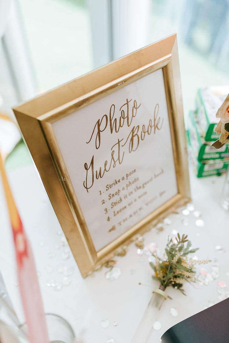 Photo Guest Book Polaroid Sign Gold Frame Glitter Decor | Glitter Dinosaurs City Wedding https://struvephotography.co.uk/
