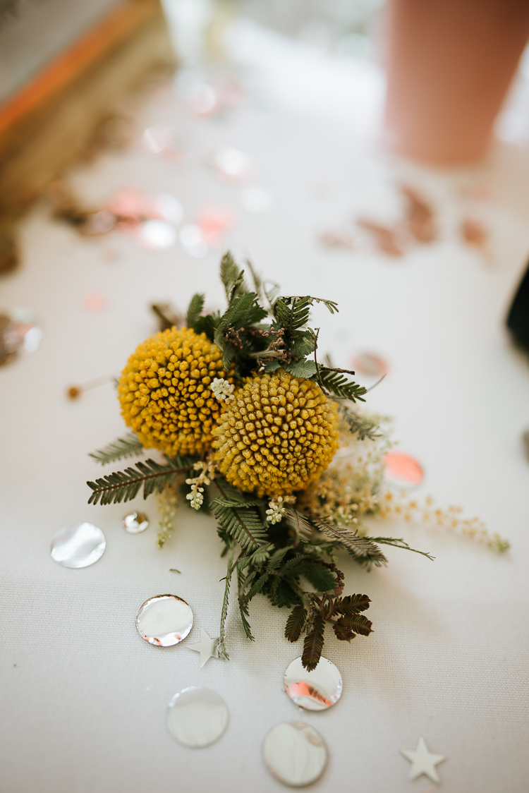 Yello Buttonhole Round Flower Natural Informal Relaxed Simple | Glitter Dinosaurs City Wedding https://struvephotography.co.uk/