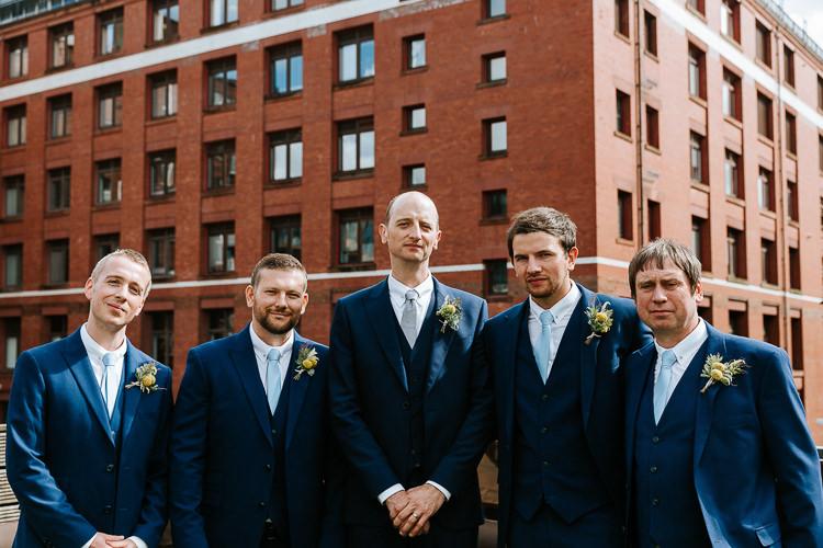 Groom Groomsmen City Group Photo Blue Navy Suits Buttonhole | Glitter Dinosaurs City Wedding https://struvephotography.co.uk/
