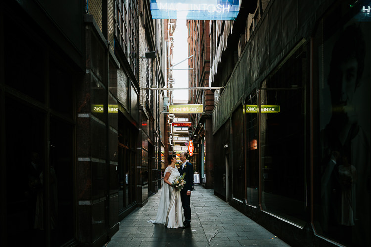 Bride Groom Walk City Street Photography Glasgow Scotland Alley | Glitter Dinosaurs City Wedding https://struvephotography.co.uk/
