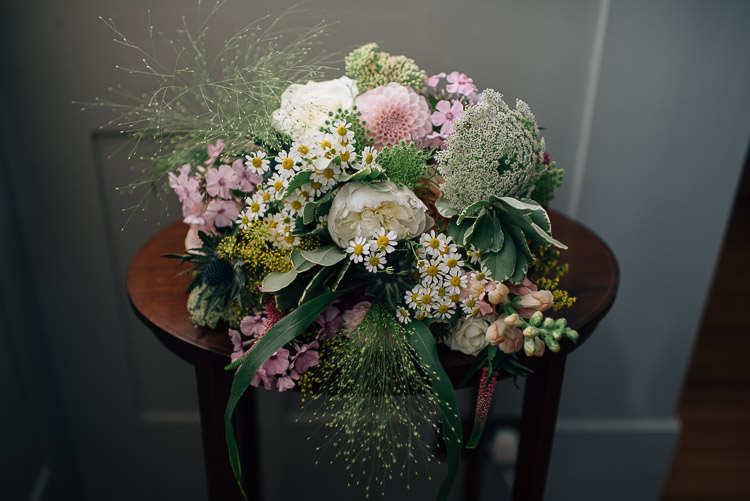 Bouquet Flowers Bride Bridal Dahlia Peony Pink Daisy Festival Bohemian Glamping Wedding https://theshannons.photography/