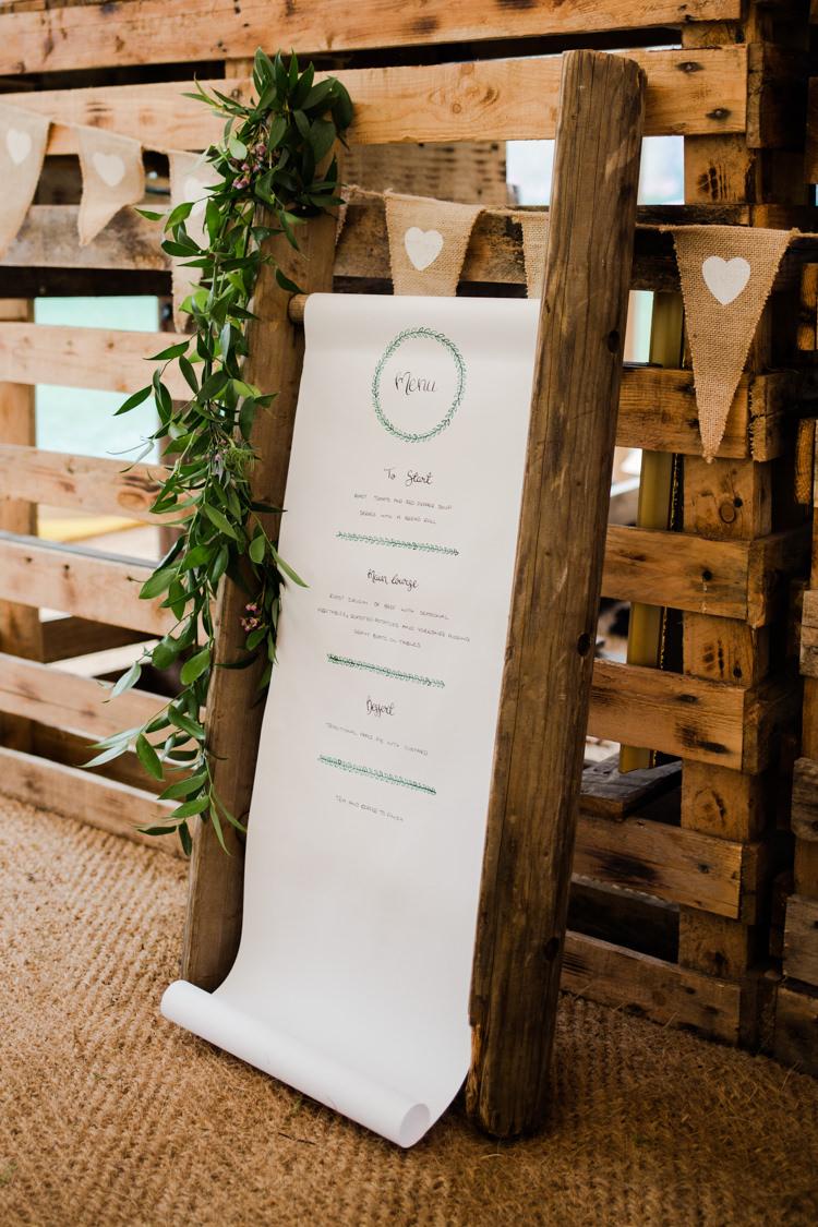 Menu Scroll Stationery Outdoorsy Late Summer Marquee Wedding Ideas http://www.esmefletcher.com/