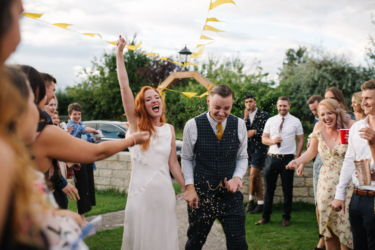 Groom Style Harris Tweed Three Piece Waistcoat Blue Mustard Bride Bridal Ghost Dress Gown Bias Silk Confetti Homemade Street Party Back Garden Wedding http://www.foxmoonphotography.com/