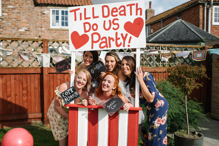 'Til Death Do Us Party Photo Booth Stripy Painted Homemade Street Party Back Garden Wedding http://www.foxmoonphotography.com/