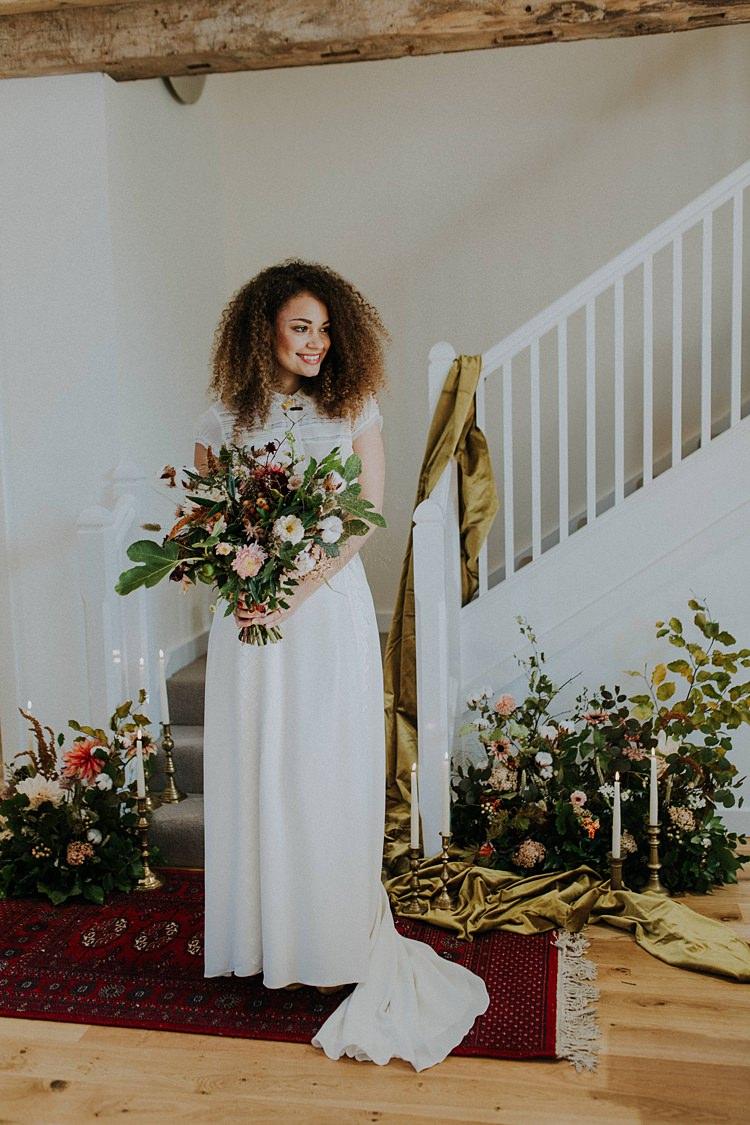 Bride Bridal Dress Gown Flowers Staircase Banquets Bonfires Autumn Wedding Ideas https://lolarosephotography.com/