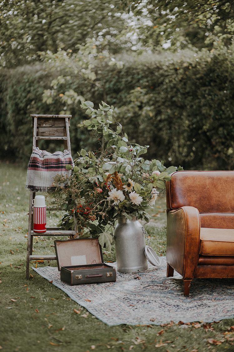 Ladder Decor Milk Churn Flowers Banquets Bonfires Autumn Wedding Ideas https://lolarosephotography.com/