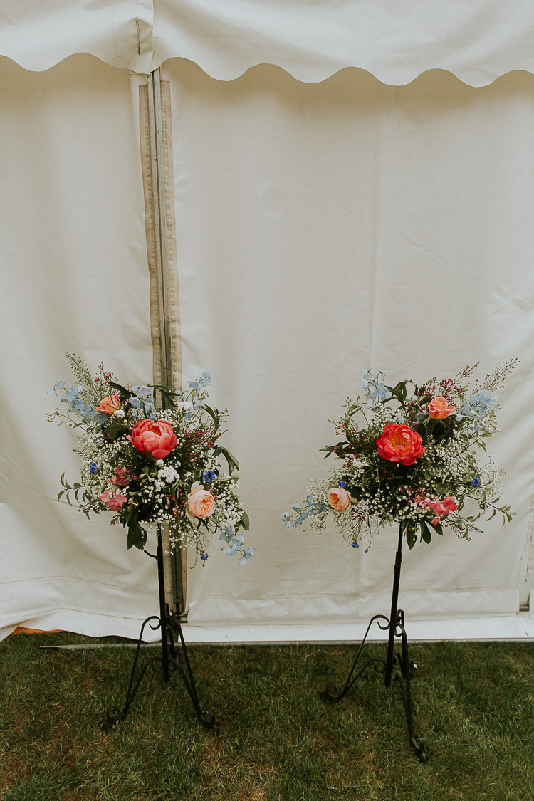 Flower Arrangements Coral Peonies Bright Colourful DIY Back Garden Wedding http://jonnymp.com/