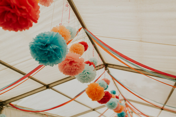 Paper Pom Poms Hanging Bright Colourful DIY Back Garden Wedding http://jonnymp.com/