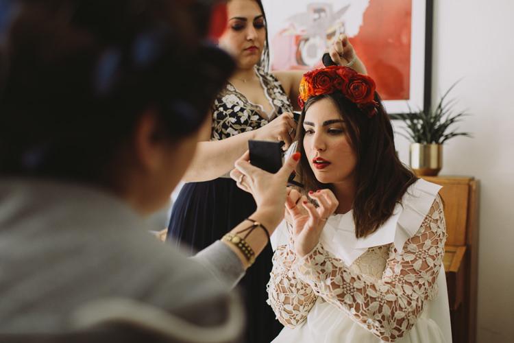 Bride Bridal Lace Flower Crown Red Burgundy Rose Alternative London Warehouse Wedding https://www.lukehayden.co.uk/