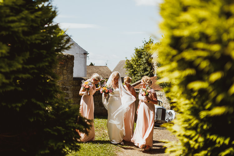 Bride Bridal Bridesmaids Pink Blush Sweetheart Dress Gown Veil Multicolour Bouquet Rural Clifftop Tipi Wedding https://www.njphotographic.co.uk/