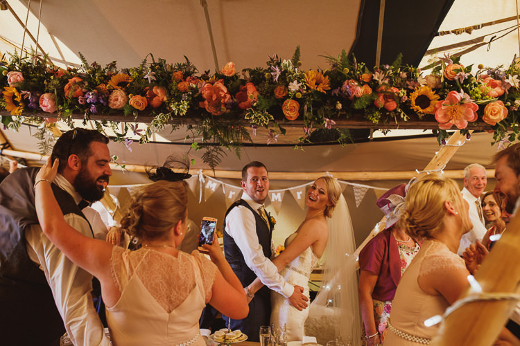 Floral Garland Runner Bunting Multicolour Colourful Rural Clifftop Tipi Wedding https://www.njphotographic.co.uk/