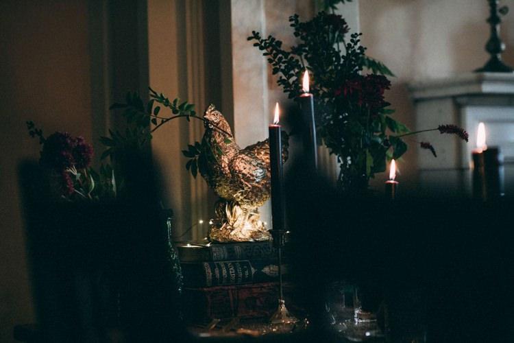 Dark Black Candles Candlesticks Gold Animal Opulent Eccentric Berry Gold Wedding https://mattaustinimages.co.uk/