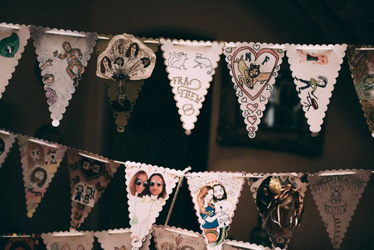 Homemade Bunting Personalised Crafty Drawings Opulent Eccentric Berry Gold Wedding https://mattaustinimages.co.uk/