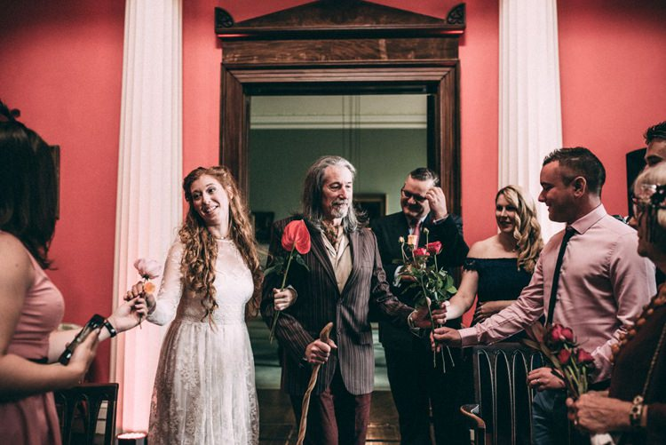 Aisle Bouquet Assembly Collecting Flowers Opulent Eccentric Berry Gold Wedding https://mattaustinimages.co.uk/