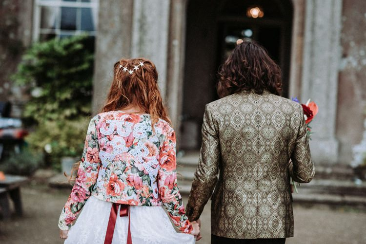 Groom Gold Jacket Paisley Tuxedo Bow Tie Bride Bridal Long Sleeved Dress Gown High Street Boohoo Embroidered Just Married Floral Jacket Opulent Eccentric Berry Gold Wedding https://mattaustinimages.co.uk/