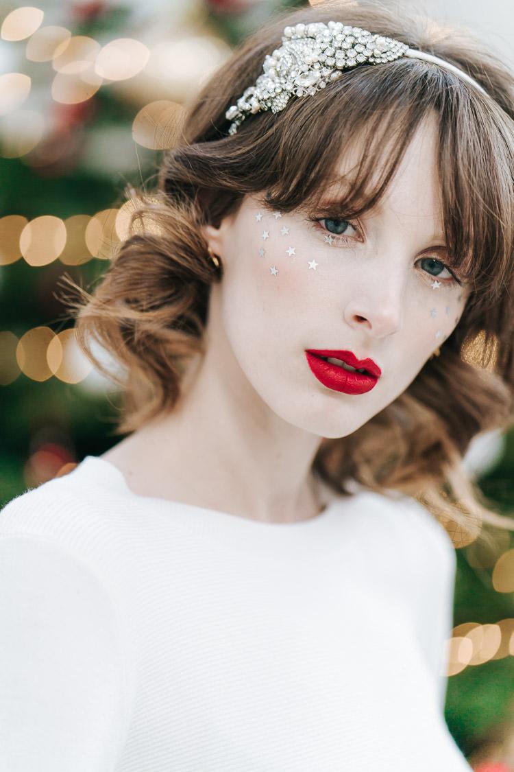 Glitter Star Make Up Bride Bridal Red Green Winter Wonderland Wedding Ideas http://www.angelawardbrown.com/
