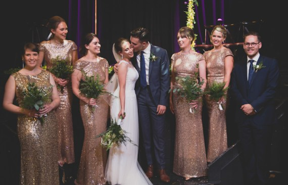 Botanical Gold Sequin Music Hall Wedding http://sashaweddings.co.uk/