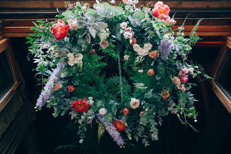 Hanging Flower Hoop Greenery Peony Chandelier Flowery Bohemian Secret Garden Wedding https://caseyavenue.co.uk/