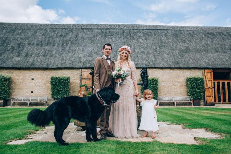 Family Bride Groom Daughter Dog Pet Flowery Bohemian Secret Garden Wedding https://caseyavenue.co.uk/
