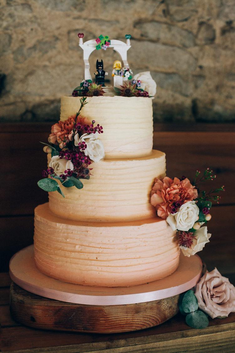 Ombre Buttercream Cake Peach Lego Topper Flowery Bohemian Secret Garden Wedding https://caseyavenue.co.uk/