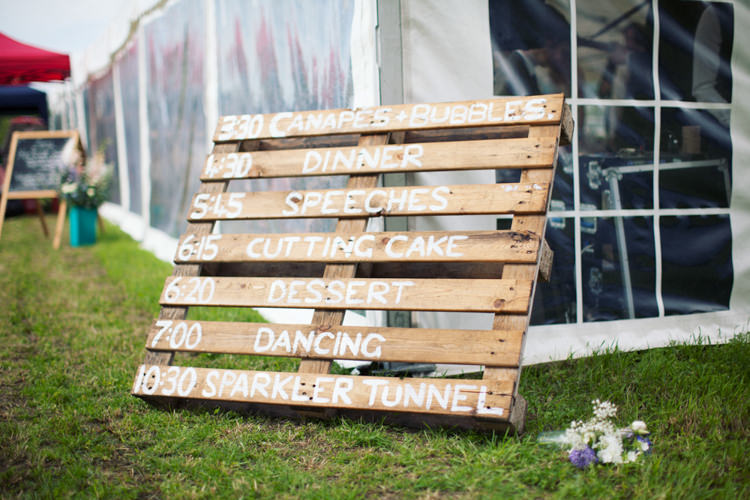 Wooden Pallet Sign Relaxed Lavender Farm Marquee Wedding https://sashaleephotography.com/