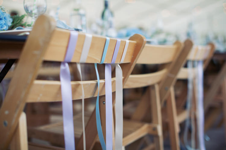 Ribbon Chairs Relaxed Lavender Farm Marquee Wedding https://sashaleephotography.com/