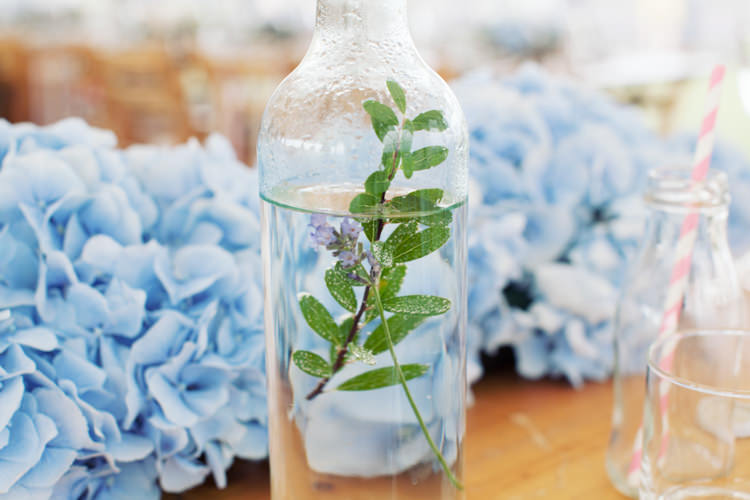 Flowers Water Bottle Blue Hydrangea Relaxed Lavender Farm Marquee Wedding https://sashaleephotography.com/