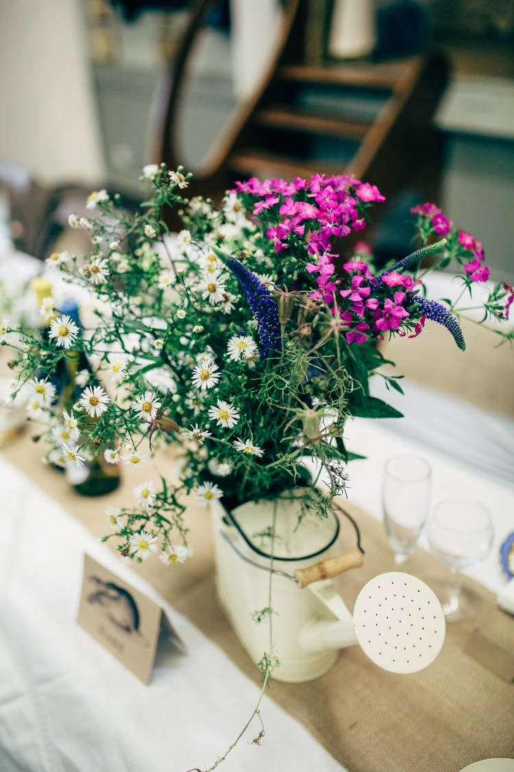 Vintage Watering Can Floral Arrangement Wildflower Daisy Old Fashioned Fete Cricket Pavilion Wedding https://www.naomijanephotography.com/
