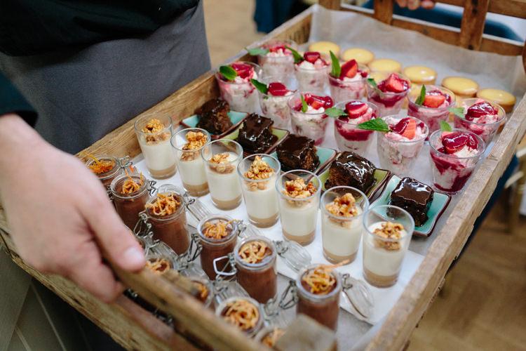 North London Shoreditch Easy Gourmet Tray Canapes Desserts | Modern Tropical Gold Urban Wedding https://www.christinewehrmeier.com/