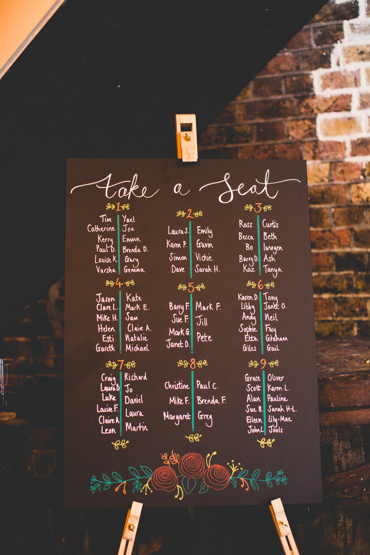 Table Plan Seating Chart Chalk Board Easel Modern Calligraphy Colourful Fun Cosy Rainy Sea Wedding http://www.livvy-hukins.co.uk/