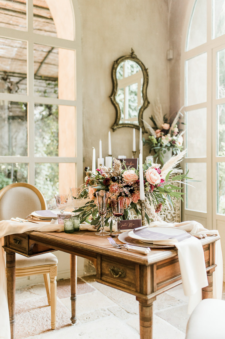Flowers Centrepiece Table Decor Tablescape Oxblood Peach Rose Pampas Grass Greenery Candles Trendy Beautiful French Elopement Wedding Ideas http://oliviamarocco.com/