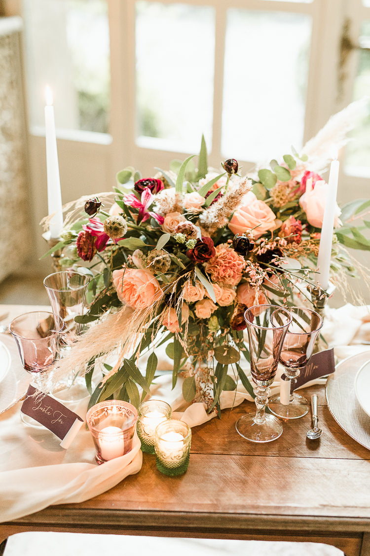 Flowers Centrepiece Table Decor Tablescape Oxblood Peach Rose Pampas Grass Greenery Trendy Beautiful French Elopement Wedding Ideas http://oliviamarocco.com/