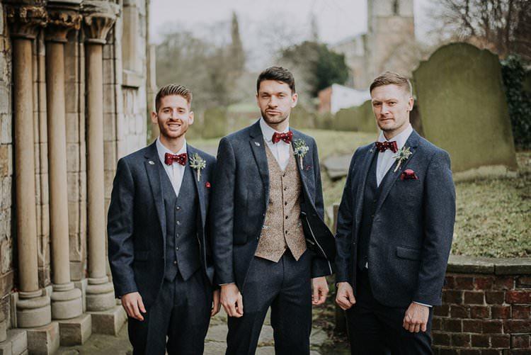 Blue Tweed Suits Groom Groomsmen Bow Tie Twinkly Rustic Winter Wonderland Wedding https://www.kazooieloki.co.uk/