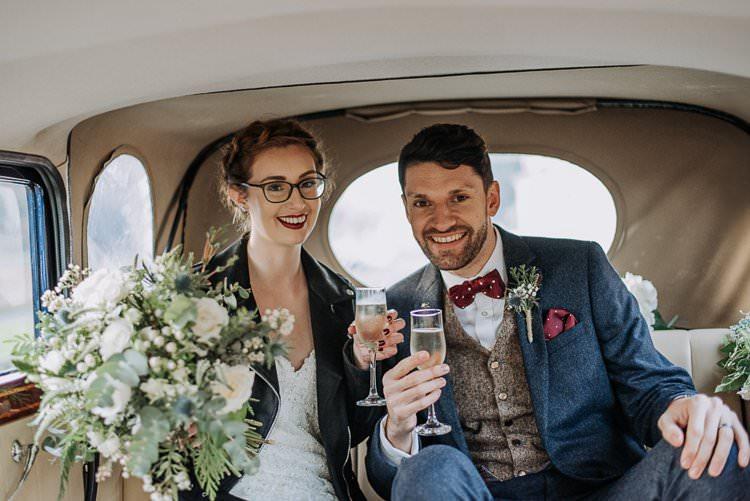 Leather Jacket Bride Bridal Twinkly Rustic Winter Wonderland Wedding https://www.kazooieloki.co.uk/