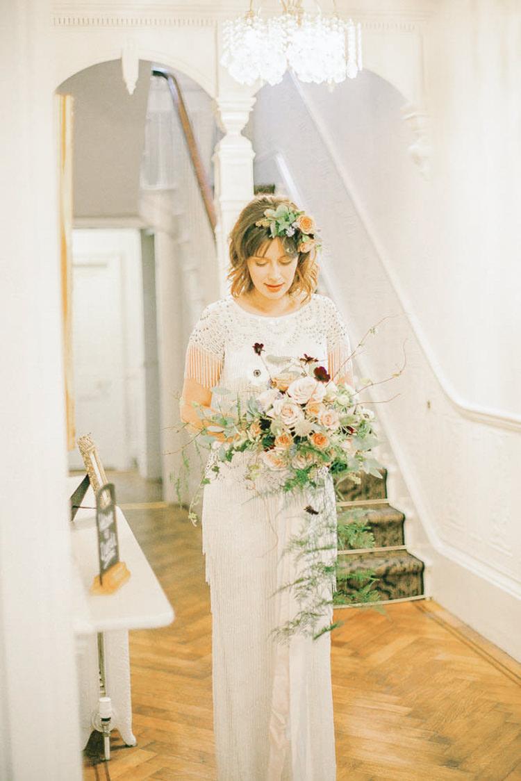 Beaded Dress Gown Tassel Bride Bridal Beautiful Fine Art Country House Wedding Ideas https://www.theblushingpeony.co.uk/