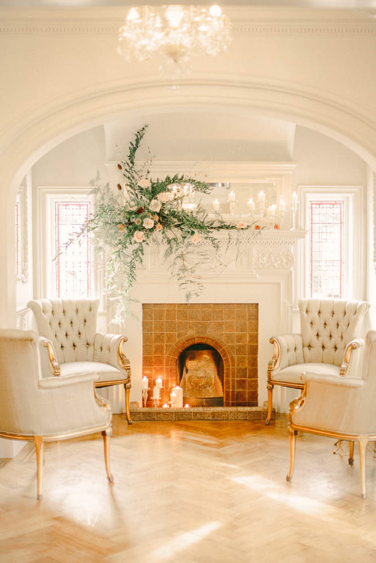 Fireplace Mantle Piece Flowers Candles Parquet Floor Beautiful Fine Art Country House Wedding Ideas https://www.theblushingpeony.co.uk/