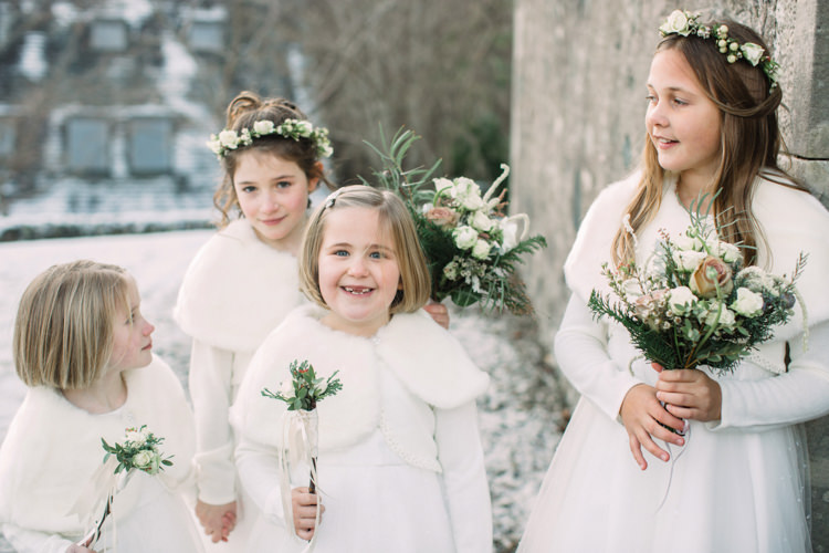 Flower Girls Wintery Faux Fur Cape Stole Posy Floral Wand Crown White Long Sleeved Enchanted Magical Snowy Wedding https://www.thegibsonsphotography.co.uk/