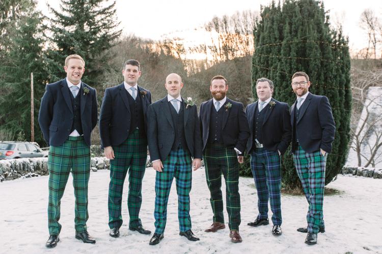 Tartan Trousers Groom Groomsmen Tweed Three Piece Waistcoat Enchanted Magical Snowy Wedding https://www.thegibsonsphotography.co.uk/
