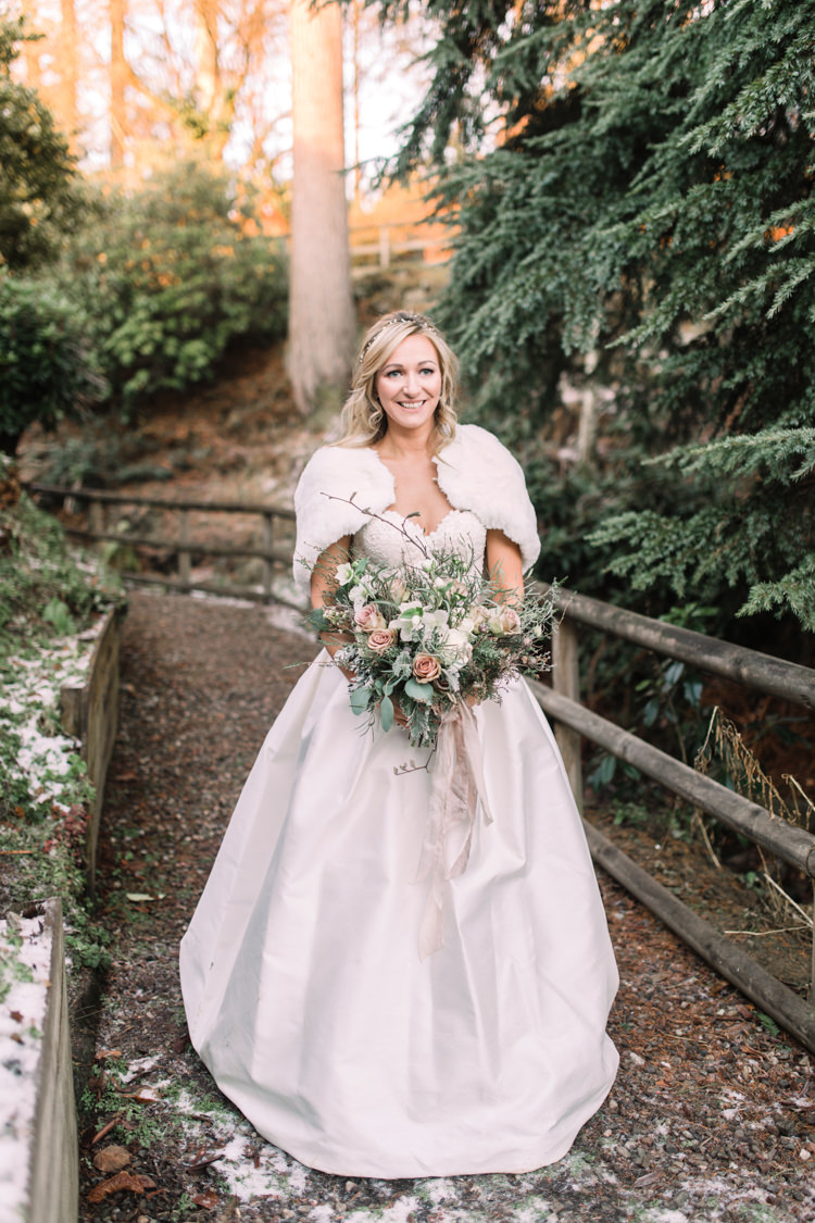 Bride Bridal Sweetheart Neckline Hair Piece Lace A Line Faux Fur Stole Cape Bouquet Peach Pastel Enchanted Magical Snowy Wedding https://www.thegibsonsphotography.co.uk/