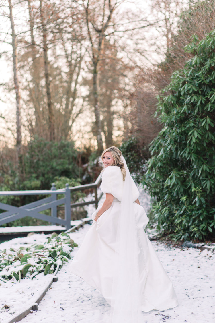 Bride Bridal Sweetheart Neckline Hair Piece Lace A Line Faux Fur Stole Cape Enchanted Magical Snowy Wedding https://www.thegibsonsphotography.co.uk/