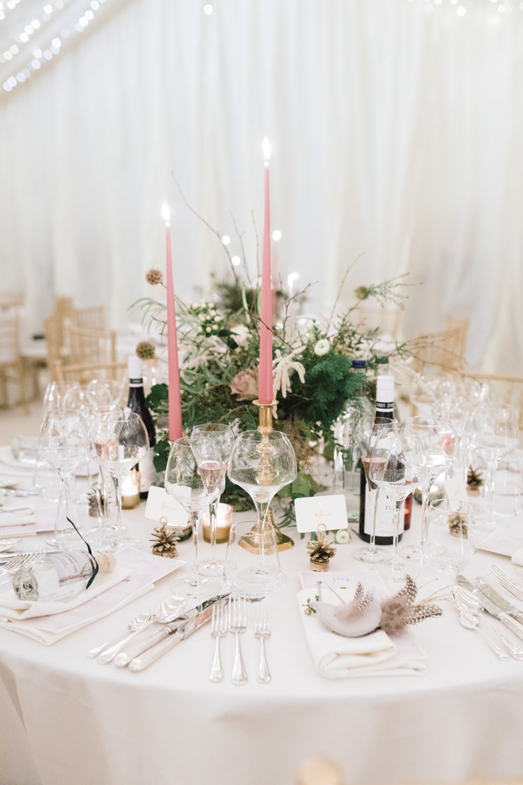 Table Setting Tablescape Pastel Pink Candlestick Foliage Enchanted Magical Snowy Wedding https://www.thegibsonsphotography.co.uk/