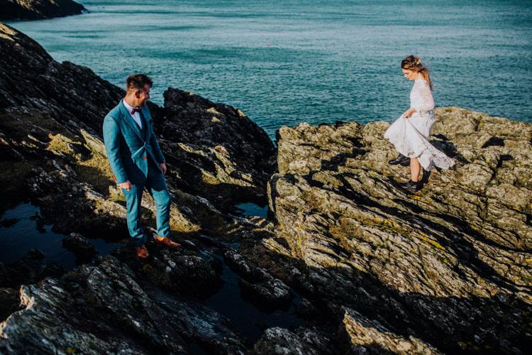 Blue Suit Groom Bow Tie Ocean Clifftop Elopement Wedding Ideas North Wales https://www.claracooperphotography.com/