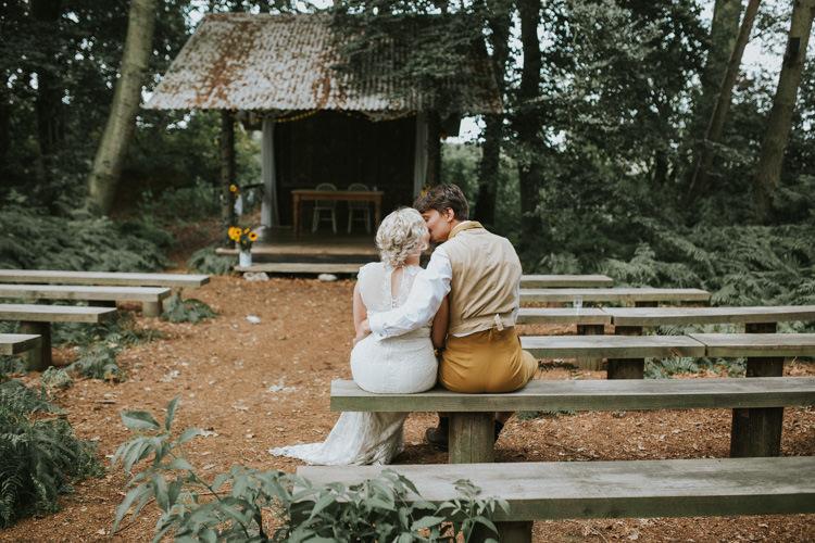 Field Outdoor Garden Woodland Hippie Summer Ceremony Hut Bride Groom Hush Venue | Happy Outdoor Forest Mustard Yellow Wedding http://suzi-photography.com/