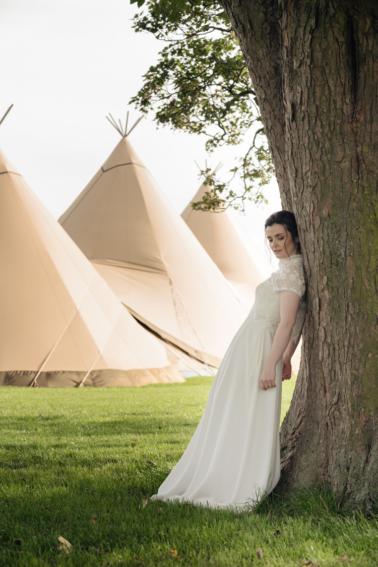 Bride Bridal Dress Gown Cap Sleeves Silk Pretty Blush Floral Tipi Wedding Ideas https://www.sarahvivienne.co.uk/