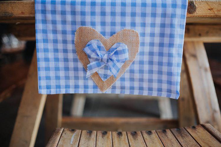 Blue Check Gingham Table Runners Cloths Rustic Homespun Country Chapel Barn Wedding Sussex http://www.olegssamsonovsphotography.com/